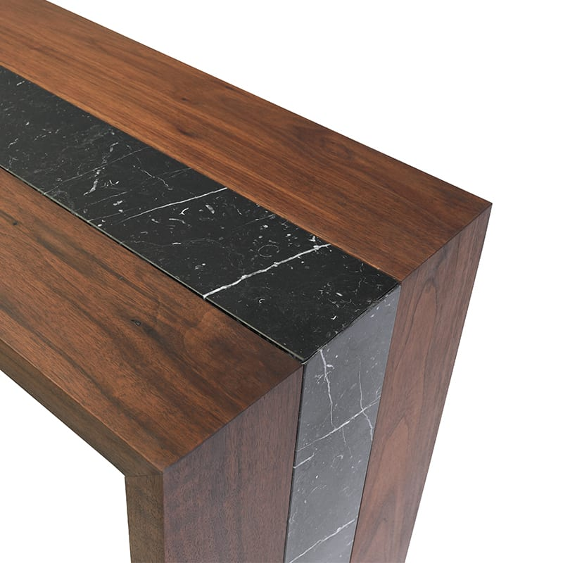 Topside details of Black Marble on Walnut Flow Table by Facet Furniture